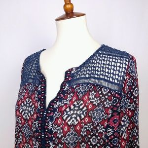 Lucky Blue and Red Small Print Top Size Large